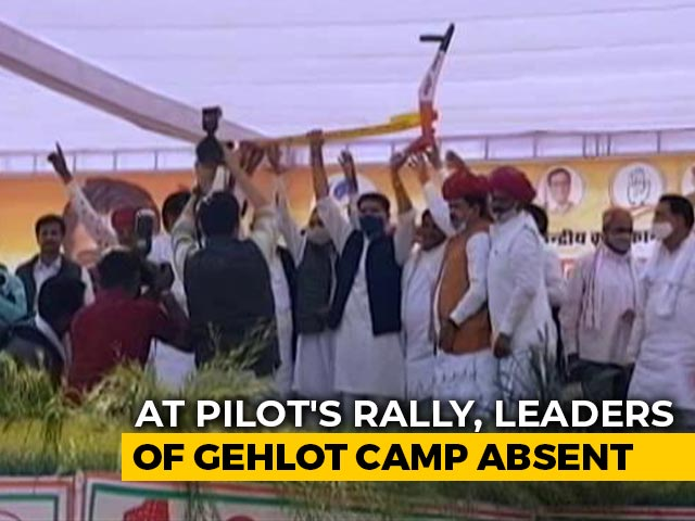 Video : At Sachin Pilot's Rally To Back Farmers, Ashok Gehlot Loyalists Absent