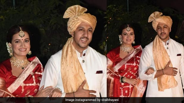 Dia Mirza Got Married: Dia Mirza Ties Knot With Vaibhav Rekhi, Walks Out Of The House In Banarasi Sari, Meets Media With A Box Full Of Sweets