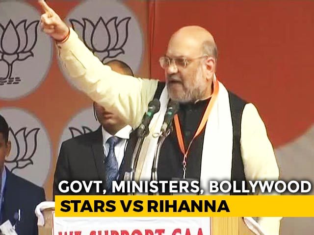 "Video : ""India Stands United"": Amit Shah Amid Pushback After Rihanna Farmer Post"