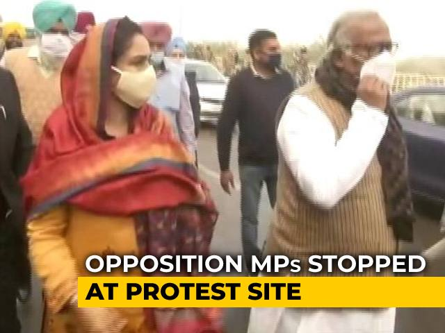 Video : Opposition Leaders Stopped At Farmers' Protest Site