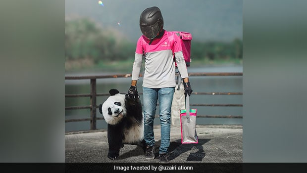 Viral Pics: Food Delivery Rider Brings Cute 'Panda' On His Last Day Of Work