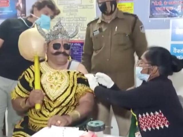 Video : Man Dressed As 'Yamraj' Gets Vaccinated, Spreads Awareness