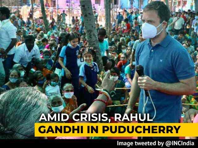 Video : Amid Congress' Numbers Crisis, Rahul Gandhi In Puducherry Ahead Of Polls