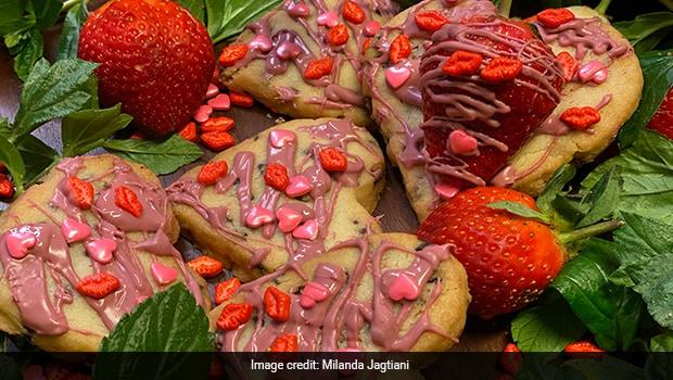Strawberry Shortbread Heart Cookies
