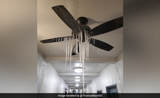 Icy crisis in Texas frozen snow on fans and inside the taps in the house see shocking photos
