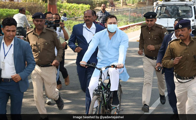 Tejashwi Yadav Rides Bicycle To Protest Against Fuel Price Hike