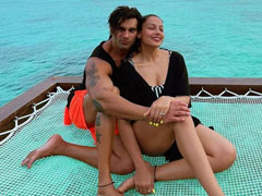 Karan Singh Grover Cuts This Tropical Birthday Cake With Wife Bipasha In Maldives