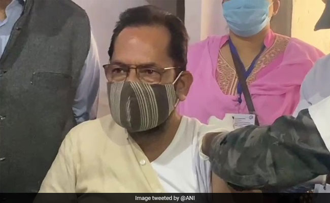 Mukhtar Abbas Naqvi Takes COVID-19 Vaccine In UP's Rampur