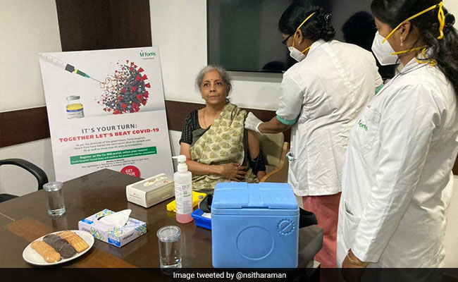 Nirmala Sitharaman Takes First Dose Of COVID-19 Vaccine