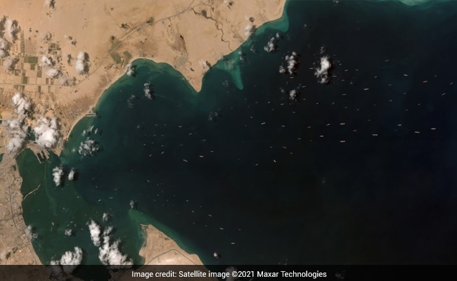 Satellite Pics Show 120 Anchored Ships Waiting For Suez Canal To Clear - NDTV