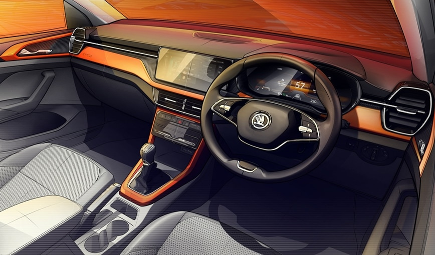 The Skoda Kushaq's cabin gets a minimalist desing with contrast accents and a 10-inch display