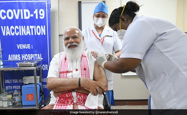 PM Modi's Message To India As He Takes First Shot Of Coronavirus Vaccine - NDTV