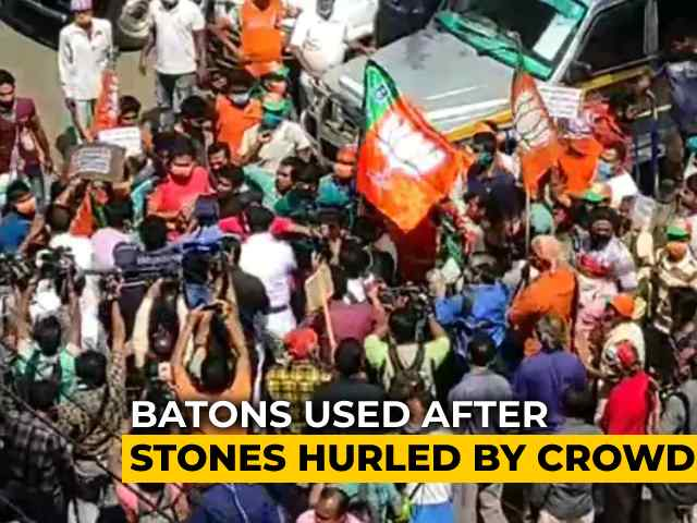 Video : Stones Thrown In BJP Protest Over Bengal Poll Tickets, Cops Use Batons