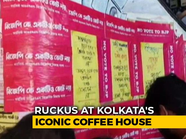 """Video : """"No Votes To BJP"""" Posters At Kolkata's Iconic Coffee House Torn Up"""