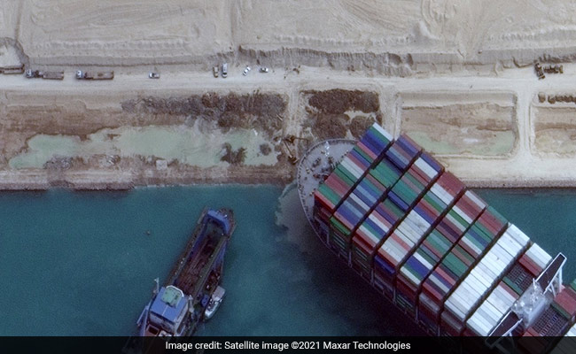 See Latest High-Resolution Satellite Pics Of Ship Stuck At Suez Canal - NDTV