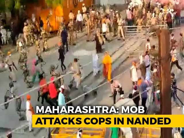 Video : Cops Attacked As Religious Procession Refused In Maharashtra's Nanded, 4 Injured