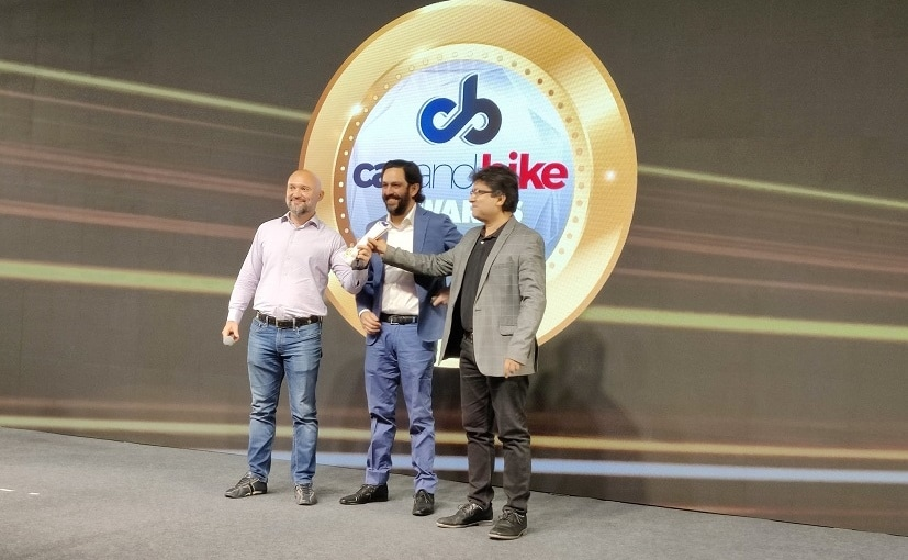 Team Hero MotoCorp accepting the 2021 CNB Viewers' Choice Motorcycle of the Year award