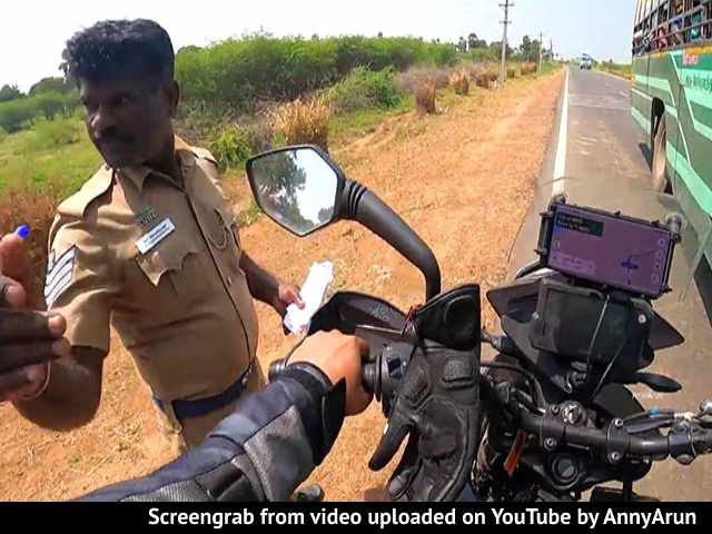 Video : This Biker In Tamil Nadu Was Stopped By A Cop. Watch What Happened Next
