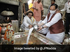 BJP Chief Visits Temples In UP, Eats <i>Kachori, Jalebi</i> After Prayers. See Photos