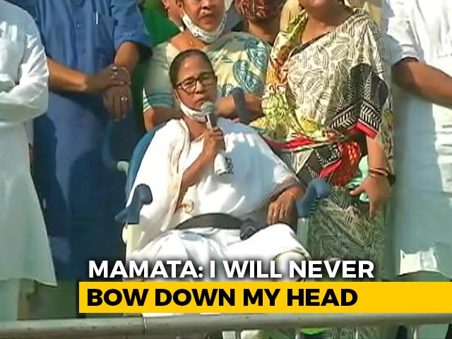 "Video : ""Won't Bow Down"": On Wheelchair, Mamata Banerjee Holds Rally In Kolkata"