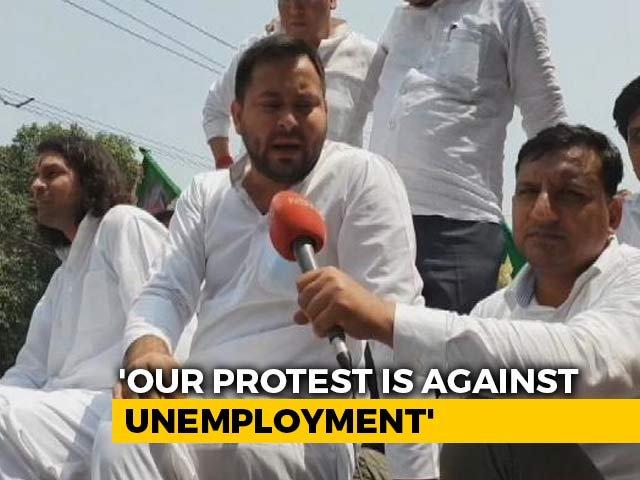 "Video : ""If You Ask For Jobs..'"": Tejashwi Yadav After Cops Lathi-Charge RJD Workers"