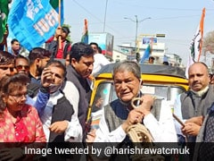 Harish Rawat Pulls Autorickshaw With Rope To Protest Fuel Price Hike