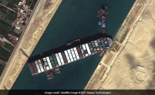 Giant Container Ship In Suez Canal