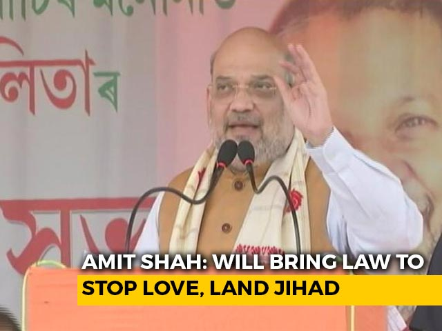 """Video : """"Will Bring Laws To Stop Love, Land Jihad"""": Amit Shah At Assam Poll Rally"""
