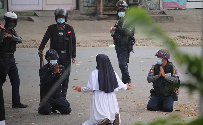 'Kill Me Instead': Photo Of Myanmar Nun Pleading With Military Goes Viral