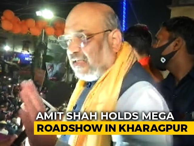 Video : Amit Shah Holds Mega Roadshow In Bengal's Kharagpur