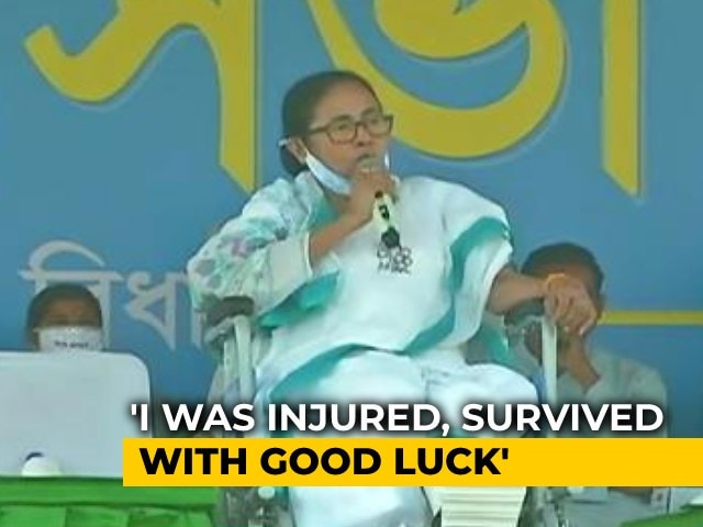 """Video : """"My Good Luck That I Survived"""": Mamata Banerjee, In Wheelchair, At Rally"""