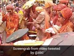 Watch: Hundreds Of Men, Women Play Lathmar Holi In Mathura's Barsana