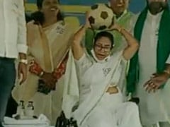 Watch: Mamata Banerjee Tosses Football Towards Crowd During Rally In Bengal