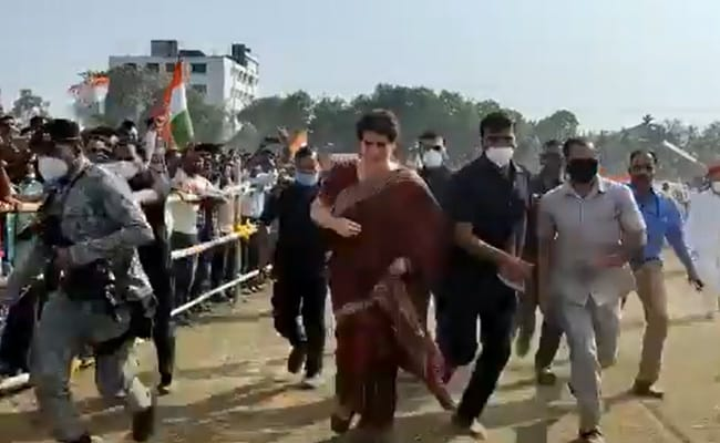 Watch: Priyanka Gandhi, Late To A Rally In Assam, Bursts Into Sprint