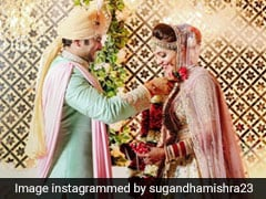 Sugandha Mishra Weds Sanket Bhosale Looking Like A Beautiful Summer Bride In A Pastel <i>Lehenga</i>