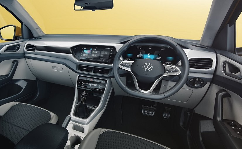 The Volkswagen Taigun gets a dual tone cabin with premium styling and creature comforts