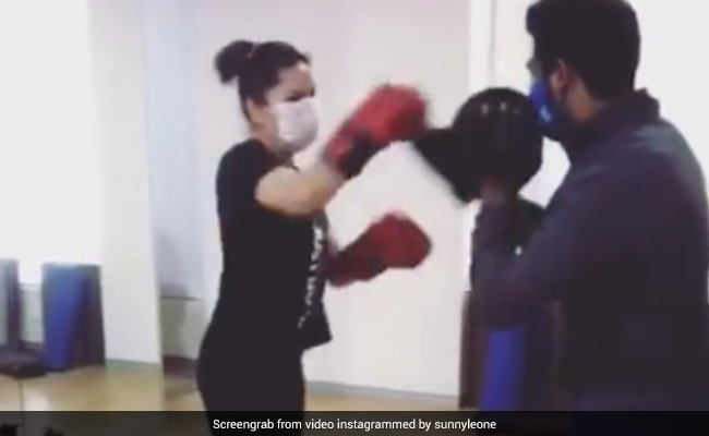 'Safety Over Comfort,' Writes Sunny Leone, Who Had A Tough Time Boxing With Her Mask On