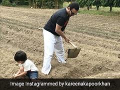 तैमूर अली खान पापा सैफ संग खेत में काम करते आए नजर, देखें Photos