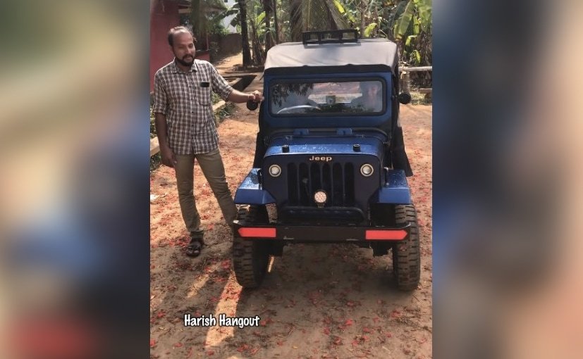 Shakir, from Areekode in Malappuram district, Kerala with the miniature Jeep replica