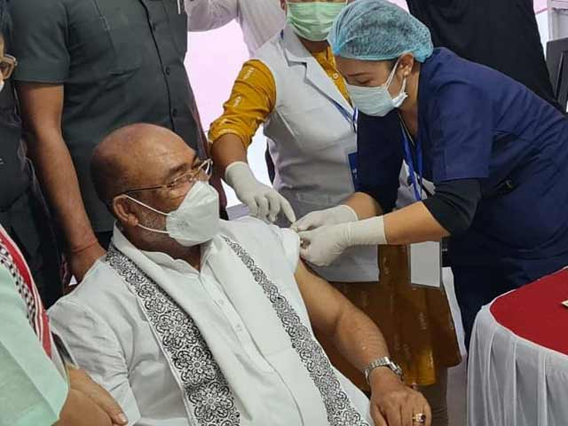 "Video : ""Tika Utsav"": Manipur Chief Minister Receives 1st Dose Of Vaccine Against Covid"