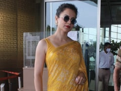 Kangana Ranaut Gives A Summer Spin To Airport Fashion In A Bright Yellow <i>Saree</i>