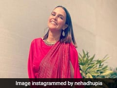 Some Like It Red, Like Neha Dhupia In A Chic Contemporary Saree
