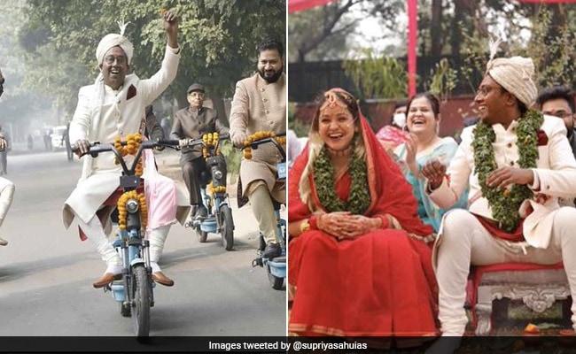 इलेक्ट्रिक साइकिल पर बारात लेकर पहुंचा दूल्हा, जयमाला में पहनाई तुलसी की माला, ऐसे संपन्न हुई 'ईको फ्रेंडली शादी'