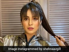 Shehnaaz Gill Brings Back The Metallic Trend In A Chic Silver Hoodie