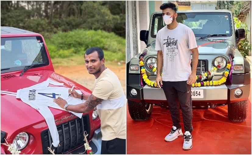 T Natarajan opted for a red shade while Shardul Thakur's Mahindra Thar is finishedi n grey