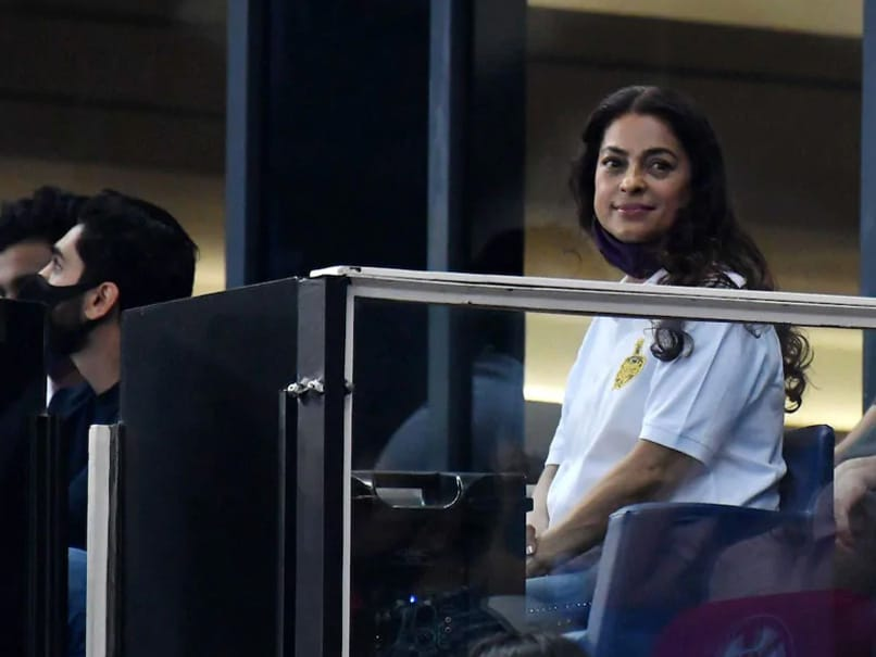 Juhi Chawla holds out with the Calcutta knights after their fight against the super kings of Chennai