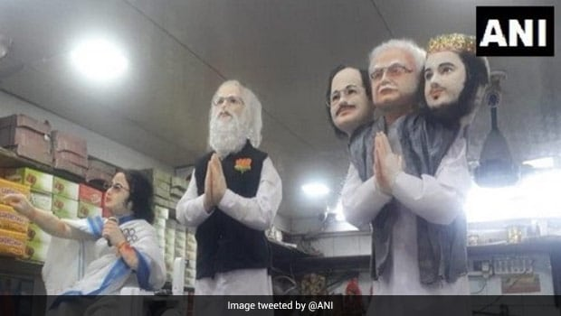 Howrah Sweet Shop: A Sweet Shop In Howrah Made Statuettes Of PM Modi, CM Banerjee Made Of Sweets, See Pics