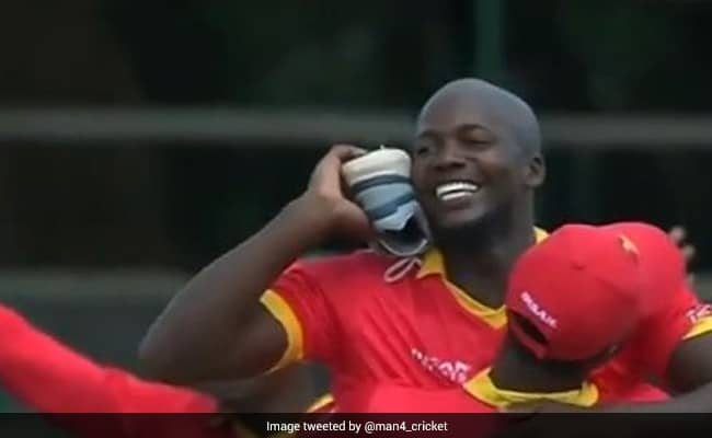 Luke Jongwe churns out the hilarious shoe-calling celebration after dismissing Babar Azam in Harare Watch video