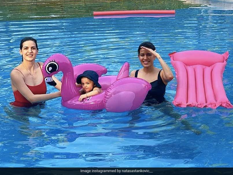 Natasa Stankovic Shares Pool Pic With Son Agastya And Pankhuri Sharma, Hardik Pandya Reacts