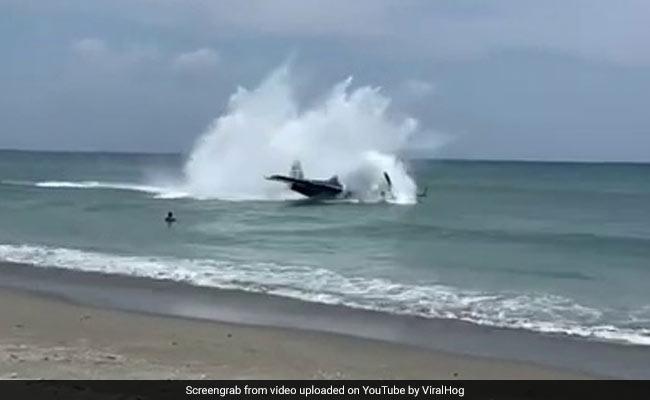 Video: Airplane Makes Emergency Landing In Ocean As Stunned Beachgoers Watch